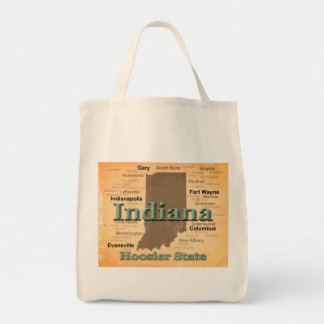 Aged Indiana State Pride Map Silhouette Canvas Bag