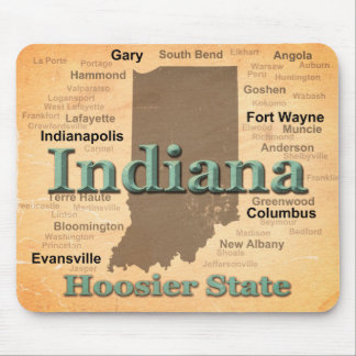 Aged Indiana State Pride Map Silhouette Mouse Mat