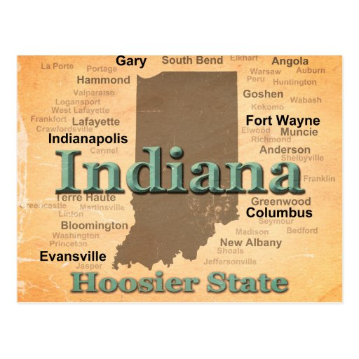 Aged Indiana State Pride Map Silhouette Post Cards
