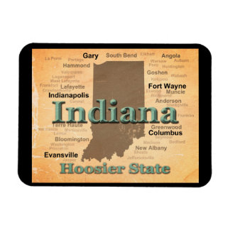 Aged Indiana State Pride Map Silhouette Vinyl Magnet