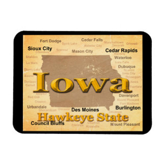 Aged Iowa State Pride Map Silhouette Rectangular Magnet