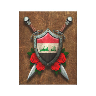 Aged Iraqi Flag Shield and Swords with Roses Canvas Prints
