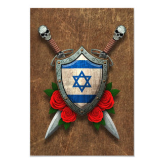 Aged Israeli Flag Shield and Swords with Roses Custom Invite