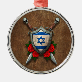 Aged Israeli Flag Shield and Swords with Roses Christmas Ornaments