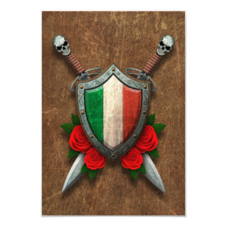 Aged Italian Flag Shield and Swords with Roses Personalized Invitation