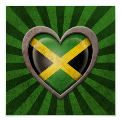 Aged Jamaican Flag Heart with Light Rays Print