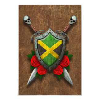 Aged Jamaican Flag Shield and Swords with Roses Invite