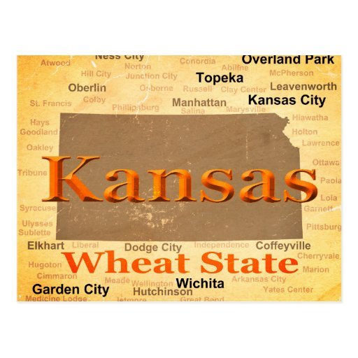 Aged Kansas State Pride Map Silhouette Postcard