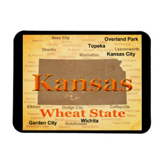 Aged Kansas State Pride Map Silhouette Rectangle Magnet