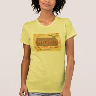 Aged Kansas State Pride Map Silhouette T Shirt