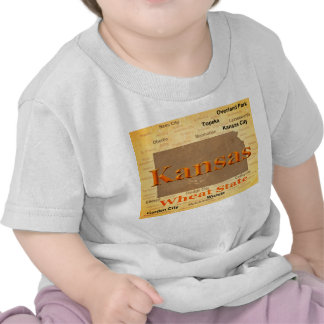Aged Kansas State Pride Map Silhouette Tee Shirts