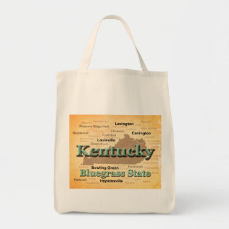 Aged Kentucky State Pride Map Silhouette Tote Bag