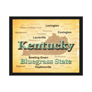 Aged Kentucky State Pride Map Silhouette Stretched Canvas Print