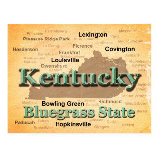 Aged Kentucky State Pride Map Silhouette Postcard