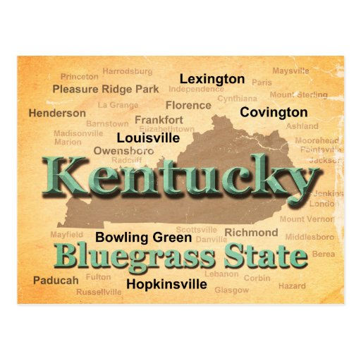 Aged Kentucky State Pride Map Silhouette Postcards