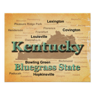 Aged Kentucky State Pride Map Silhouette Print