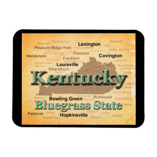 Aged Kentucky State Pride Map Silhouette Vinyl Magnet