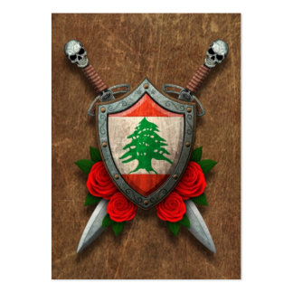 Aged Lebanese Flag Shield and Swords with Roses Pack Of Chubby Business Cards