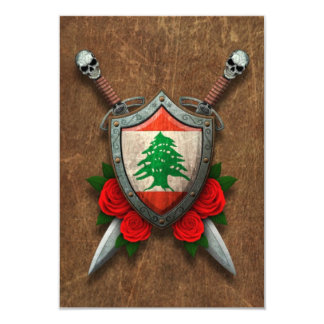 Aged Lebanese Flag Shield and Swords with Roses Custom Invitation