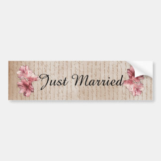 Aged Letter Pink Illustrated Flower Customizable Bumper Sticker