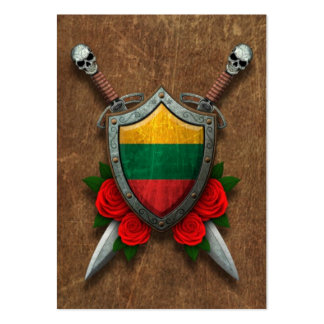 Aged Lithuanian Flag Shield and Swords with Roses Pack Of Chubby Business Cards