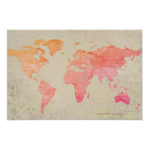 Watercolor map posters prints zazzle uk aged look watercolor world map travel poster gumiabroncs Images