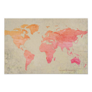 aged look watercolor world map travel poster