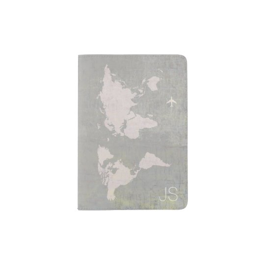 aged look world map with name, grey travel