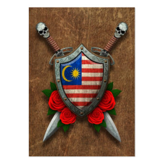 Aged Malaysian Flag Shield and Swords with Roses Business Cards