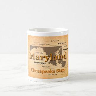Aged Maryland State Pride Map Silhouette Basic White Mug