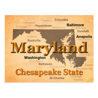 Aged Maryland State Pride Map Silhouette Post Card