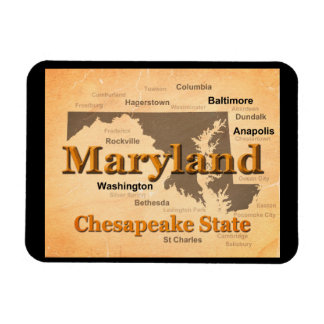 Aged Maryland State Pride Map Silhouette Rectangular Magnets