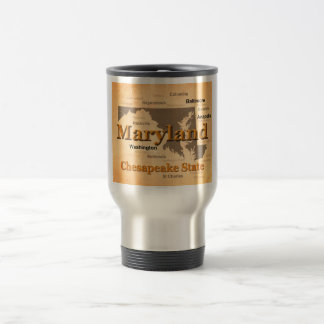 Aged Maryland State Pride Map Silhouette Stainless Steel Travel Mug