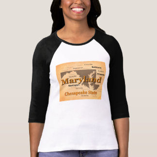 Aged Maryland State Pride Map Silhouette Tees