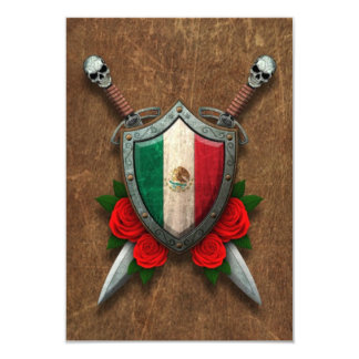 Aged Mexican Flag Shield and Swords with Roses Personalized Invite