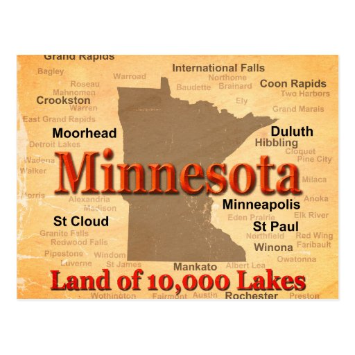 Aged Minnesota State Pride Map Post Cards