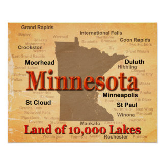 Aged Minnesota State Pride Map Print