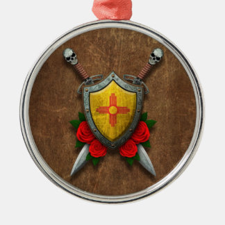 Aged New Mexico Flag Shield and Swords with Roses Christmas Tree Ornament
