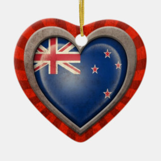 Aged New Zealand Flag Heart with Light Rays Christmas Tree Ornaments
