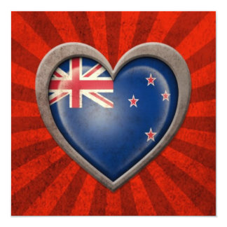 Aged New Zealand Flag Heart with Light Rays Personalized Invitations