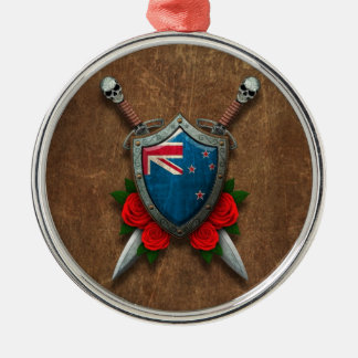 Aged New Zealand Flag Shield and Swords with Roses Ornament
