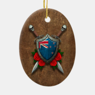 Aged New Zealand Flag Shield and Swords with Roses Christmas Tree Ornament