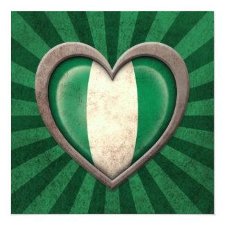 Aged Nigerian Flag Heart with Light Rays Custom Invites
