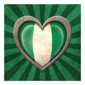 Aged Nigerian Flag Heart with Light Rays 13 Cm X 13 Cm Square Invitation Card