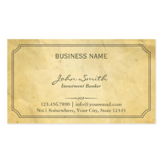 Aged Old Paper Texture Investment Banker Pack Of Standard Business Cards