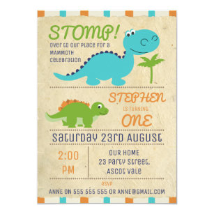 Aged Paper Dinosaurs Birthday Invitation