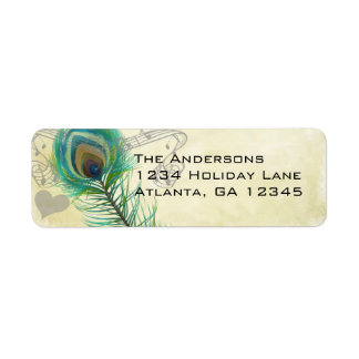 Aged Parchment Vintage Birds Peacock Feather Return Address Label