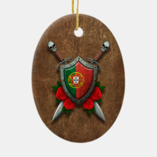 Aged Portuguese Flag Shield and Swords with Roses Ornaments
