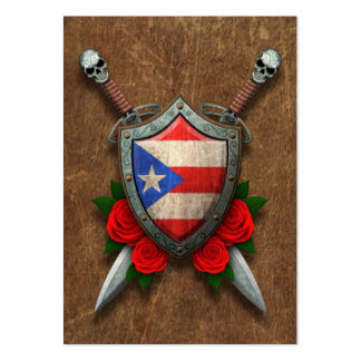 Aged Puerto Rico Flag Shield and Swords with Roses Large Business Cards (Pack Of 100)