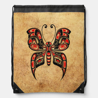 Aged Red and Black Haida Spirit Butterfly Backpack